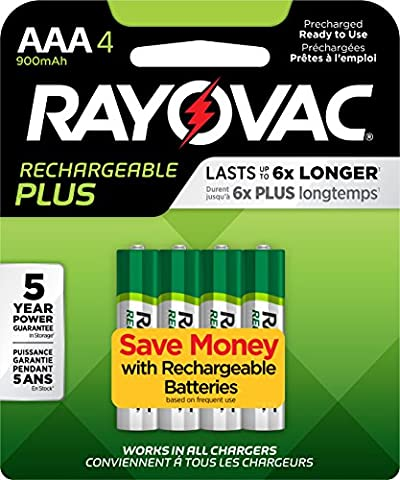 RAYOVAC AAA 4-Pack RECHARGEABLE PLUS Batteries, PL724-4 GENE - Optimal Seven Drawer