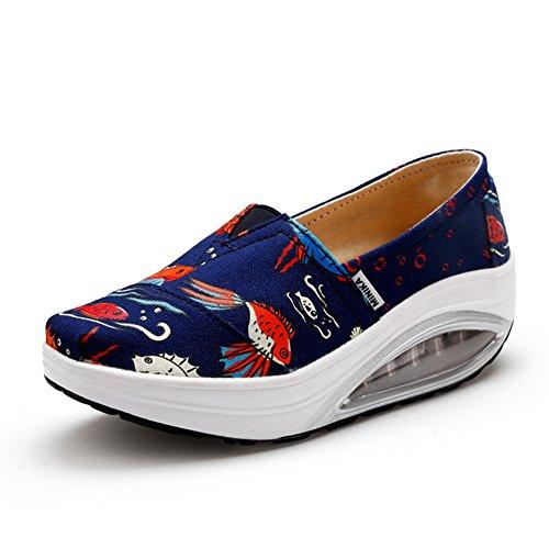 Womenswaking Schoenen Slip Op Casual Dikke Basis Luchtkussen Mode Sneakers Door Btrada Donkerblauw