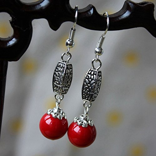 Chinese wind ethnic wind handmade jewelry accessories style characteristics Yunnan Tibetan silver turquoise earrings earrings women girls long section