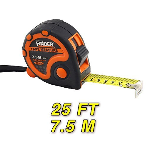 Finder Heavy Duty 25ft (7.5m) Tape Measures Ruler, Extra Long, Tough and Durable Professional Tool by FINDER