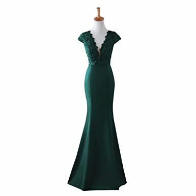 Abaya Womens V-Neck Mermaid Evening Party Gowns Appliques Formal Prom Dresses Green US2