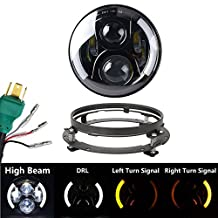 VOSICKY 7 inch Led Headlight halo for Harley Motorcycle DRLTurn Signal Lights with 7 inch headlight bracket