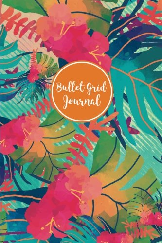 Bullet Grid Journal: Tropical Pattern, 150 Dot-Grid Pages, 6