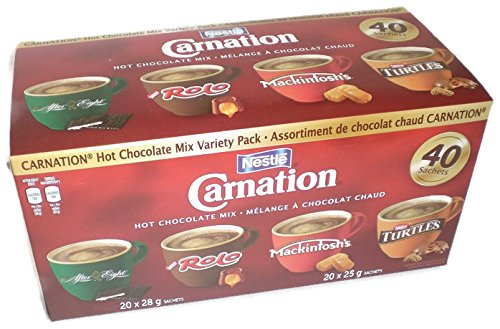 - Nestle Carnation Hot Chocolate Mix Variety Pack After Eight, Rolo, Mackintosh's, Turtles 40 Count