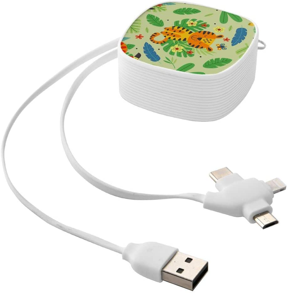 Curry J Yasha Cute Tiger Square Charging Cable Multifunctional USB Retractable Charging Cable for Traveling