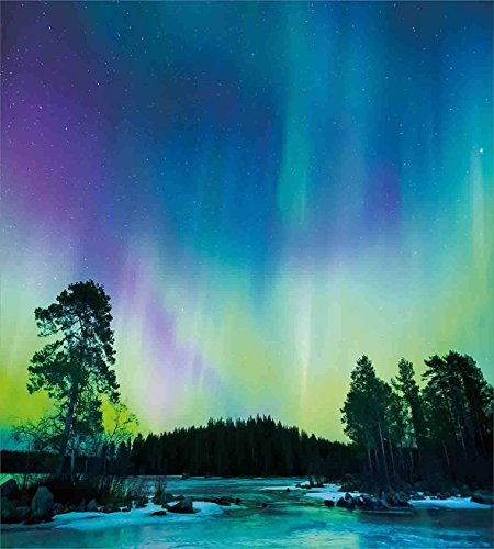 Fantasy Star Twin XL Extra Long Bedding Set,Aurora Borealis Duvet Cover Set,Sky Over Lake Surrounded Forest Woods Hemisphere Print,Include 1 Flat Sheet 1 Duvet Cover and 2 Pillow Cases by Fantasy Star (Image #2)