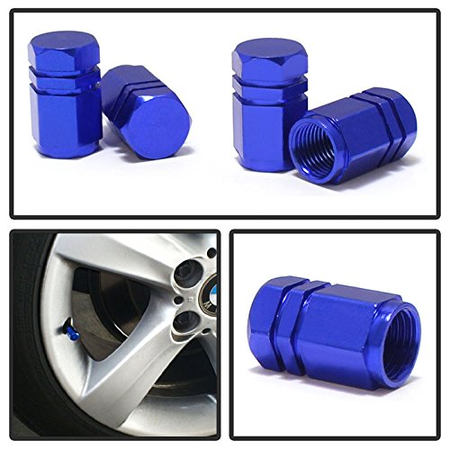 Blue Led Rim - iJDMTOY (4) Tuner Racing Style Blue Aluminum Tire Valve Caps (Hexagon Shape)