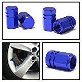 iJDMTOY (4) Tuner Racing Style Blue Aluminum Tire Valve Caps (Hexagon Shape)