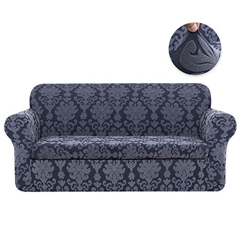 CHUN YI 2-Piece Stretch Jacquard Damask Elegant Collection Sofa Slipcover Easy Fitted Couch Cover Stretchable Durable Furniture Protector (Sofa, Grayish Blue)