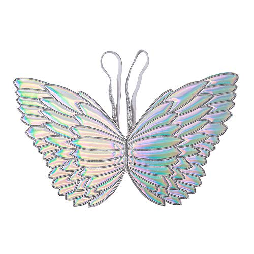 - Ohnanana Girls Butterfly Fairy Wings,Perfect Novelty Gift for Kids Tinkerbell Birthday Party Favors Halloween Costumes Dress Up and More (Butterfly, Silver Hologram)