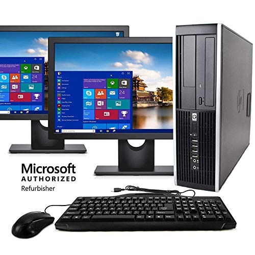 HP Elite Desktop Computer PC, Intel Core i5, 8 GB RAM, 2 TB HDD, WiFi, Keyboard & Mouse, Dual 19
