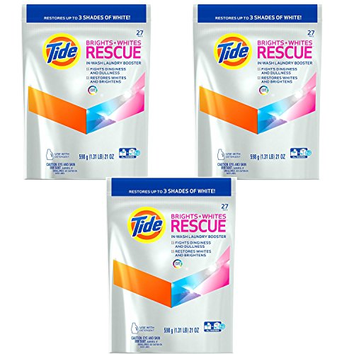 Price comparison product image Tide Brights and Whites Rescue Laundry Pacs In-Wash Detergent Booster, 27 Count, 3-Pack