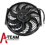 "A-Team Performance 170071 12"" Heavy Duty 12V Radiator Electric Curved 10 Blade FAN 1400 CFM Reversible Push or Pull with Mounting Kit"