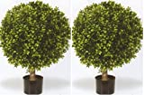 Two 32 Inch Outdoor Artificial Boxwood Ball Topiary Bushes Potted Uv Plants