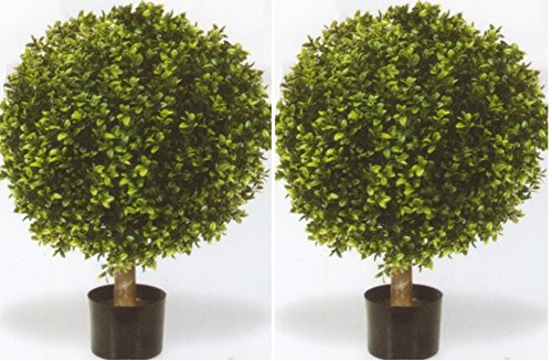 Silk Tree Warehouse Two 32 Inch Outdoor Artificial Boxwood Ball Topiary Bushes Potted Uv Plants