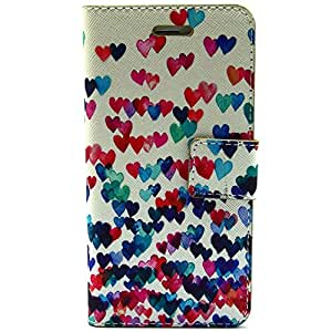 JUJEO Colorized Hearts Leather Magnetic Case Stand for iPhone 6 Plus, Non-Retail Packaging