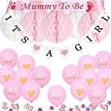 "TopDeko Baby Shower Decorations Boys Girls Mommy to Be Sash, ""Its A BOY"" IT'S A GIRL Banner, 6pcs Honeycomb Balls, Baby Shower Confetti, 15pcs 12"" Baby Shower Balloons (Pink)"