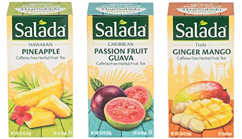 (Salada CaffeineFree Herbal Fruit Tea Bags Variety Pack - Hawaiian Pineapple, Passion Fruit Guava, Thai Ginger Mango - 20 Tea Bags Each Flavor - 60 Bags Total)