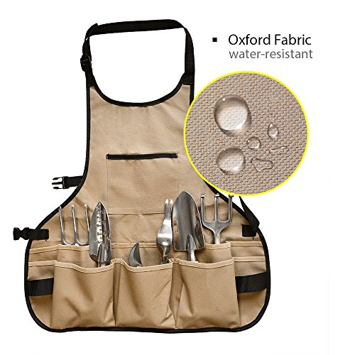 BOJECHER Tool Apron - Professional Heavy Duty Work Apron with 14 Tool Pockets and Adjustable Belt Water-resistant Gardening Woodshop Aprons for Men & Women, Carpenters Bakers and Machinists by BOJECHER (Image #4)