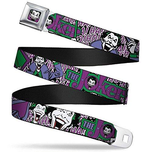 (Buckle-Down Seatbelt Belt - Joker Face/Logo/Spades Black/White/Purple - 1.5
