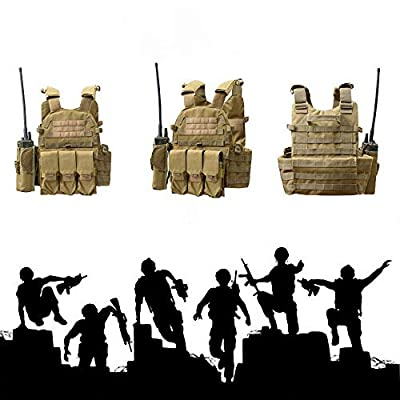 SZYYX Tactical CS Field Vest Military Airsoft Vest Paintball Combat Training Vest Soft Vest Tan with Triple Mag Pouch Intercom Pouch and Accessary Bag