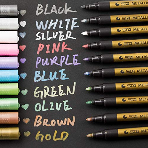 Metallic Marker Pens, Morfone Set of 10 Colors Paint Markers for Card Making, Rock Painting, DIY Photo Album, Scrapbook Crafts, Metal, Wood, Ceramic, Glass (Medium tip) from Morfone