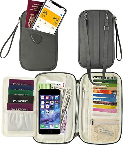 Travel Document Organizer &Passport Wallet & Passport Pouch &Passport Cover (RFID Gray)