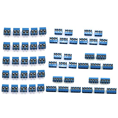DGZZI 50pcs Blue 5mm Pitch PCB Mount Screw Terminal Block Connector for Arduino (20pcs 2 Pin + 15pcs 3 Pin + 15pcs 4 Pin)