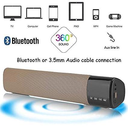 Soundbar Jumphigh Small TV Sound Bar Portable Bluetooth Speaker Wired and Wir...