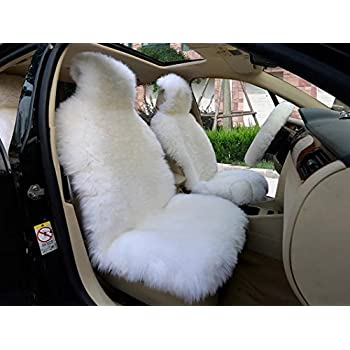 OFLBA Faux Fur Sheepskin Seat Cover Universal Fit Front White