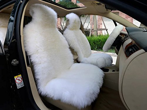 OFLBA Faux Fur Sheepskin Seat Cover Universal Fit Front Seat (White)