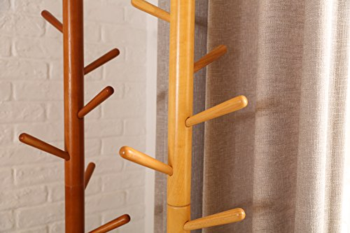 LCH Sturdy Standing Coat Rack Solid Rubber Wood Hall Tree Coat Tree with Tripod Base,8 Hooks(Honey) by LCH (Image #7)