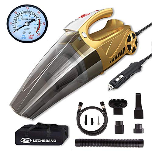 LB LECHEBANG 4 in 1 Air Pump Car Cleaner Hand Held Wet Dry DC 12V High Power Vacuum with Digital Tire Inflator and LED for Lighting-HEPA Filter ... (Gold) (Pointer Meter)