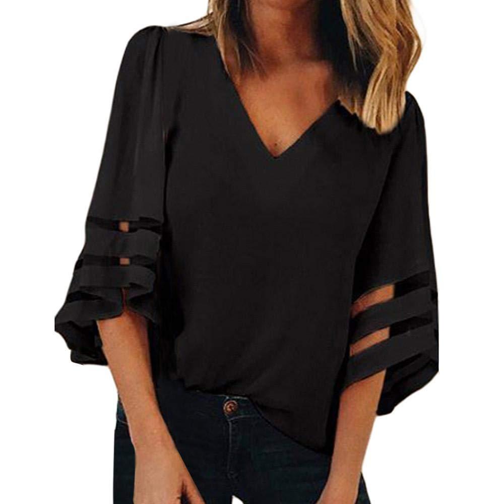 Maglietta da Donna Scollo A V Tinta Unita T-Shirt di Bell Sleeve E Sciolto Eleganti Top Camicetta Autunno Invernali, S-3XL, Mambain