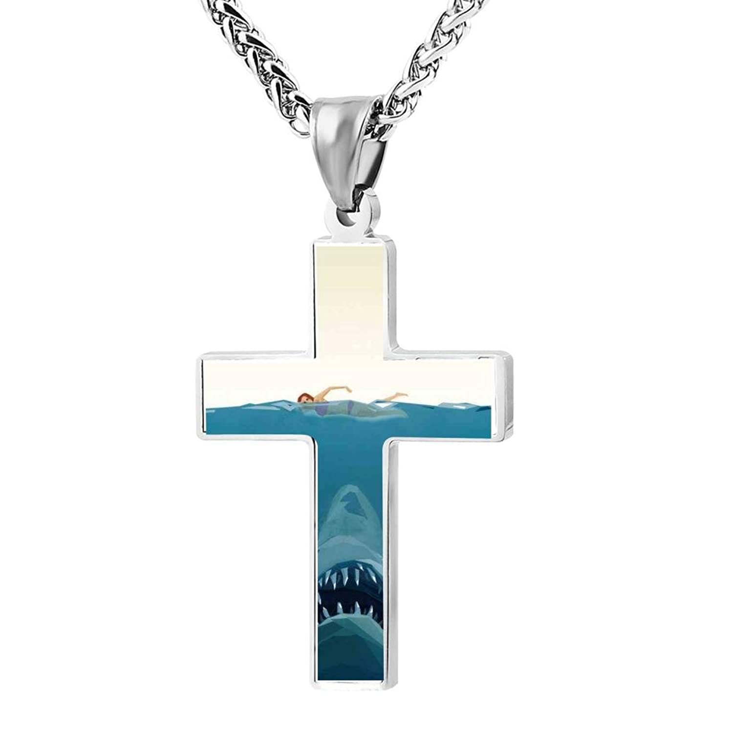 Cross Pendant Water Shark Zinc Alloy Necklace Ornaments forYouth