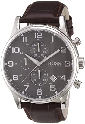 Hugo Boss 1512570 Leather Mens Watch - Black Dial