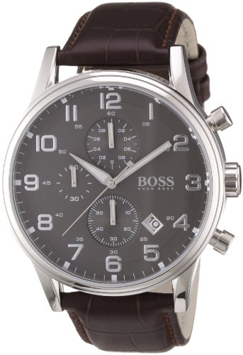 hugo boss aeroliner men 39 s quartz grey chronograph brown. Black Bedroom Furniture Sets. Home Design Ideas