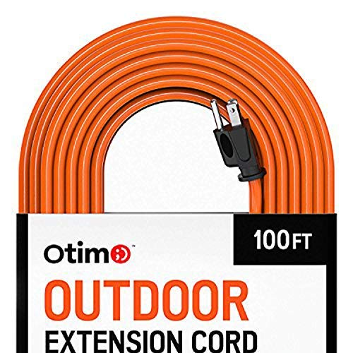 Otimo 100 ft 16/3 Outdoor Heavy Duty Extension Cord - 3 Prong Extension Cord, Orange ()