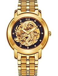 BOS Mens Dragon Collection Luxury Carved Dial Automatic Mechanical Bracelet Waterproof Gold Watch 9007