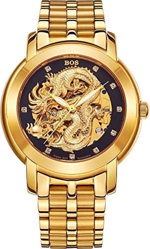 BOS Men's 'Dragon Collection' Luxury Carved Dial Automatic Mechanical Bracelet Waterproof Gold Watch