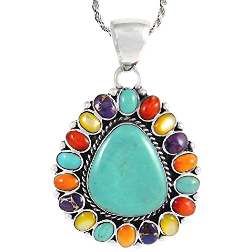 Turquoise Pendant Necklace in 925 Sterling Silver & Genuine Turquoise (24