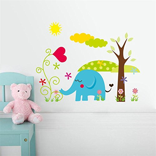 [Ayutthaya shop Jungel candy-colored cartoon animal wall decals for children's rooms, home decoration adesivo de parede wall stickers wallpaper.( elephant] (Cute Halloween Names For Kittens)