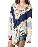 MorySong Women Crochet Bikini Blouse Boho Beach Knitted Top Cover Up Swimsuit