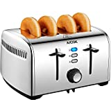 Cheap Aicok Toaster, 4 Slice Toaster with Removable Crumb Tray, Stainless Steel Toaster with Extra Wide Slots, 7 Browning Control with Bagel Defrost and Cancel Function, 1500W, Silver