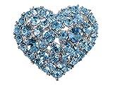Alilang Crystal Rhinestone Valentine Heart Love Brooch Pin, Aqua Blue
