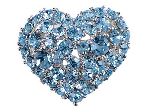Rhinestone Heart Brooch - Alilang Crystal Rhinestone Valentine Heart Love Brooch Pin, Aqua Blue