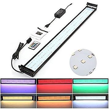 Amzdeal Lámpara Acuario Luces Impermeable LED para Acuarios de Peces y Estanques con Control Remoto (144 granos de la lámpara): Amazon.es: Hogar