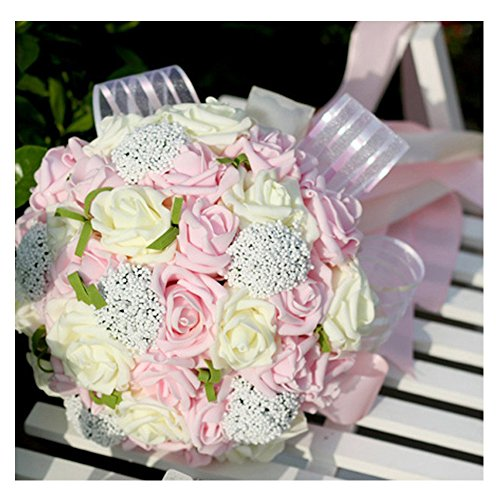 N.L.B Handmade Satin Roses White Bridesmaid Bouquet Crystal Brooch Bridal Wedding Bouquet Decor Mint Artificial flowers (Pink)
