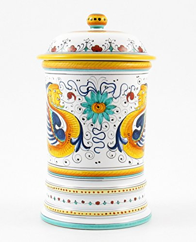 Hand Painted Italian Ceramic 9.8-inch Shaped Canister Raffaellesco - Handmade in Deruta by Fima
