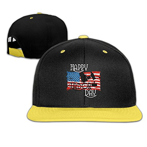 ATOPSHOP Happy Labor Day American Flag Unisex Kids Boys Girls Cotton Snapback Hat - Hip Hop Baseball Cap